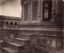 Close view of base of platform and steps of a cenotaph of the Scindia family, Lashkar, Gwalior